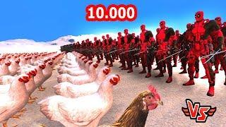 100 DEADPOOL VS 10.000 TAVUK 😱 - Süper Kahramanlar