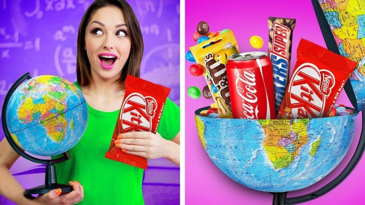 10 cara aneh membawa makanan ke kelas || Kembali ke sekolah! Tips dan Trik makanan oleh RATATA!