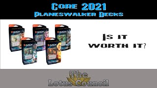 What is found in the Core 2021 Planeswalker Decks?