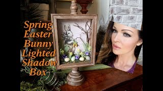 Spring Easter Bunny DIY Lighted Shadow Box Large