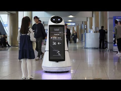 Robots assist passengers, clean floors at South Korean airport