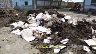 Trabajos de limpieza en el Hospital de Apoyo de Huarmey