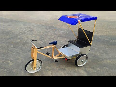 Make An Amazing Bicycle RickShaw With Pepsi Can | DIY at home from DC Motor thumbnail