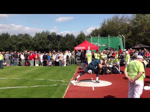 David storl (GER ) throw far more than 21m during the warming up in Köstritzer throwing meeting .