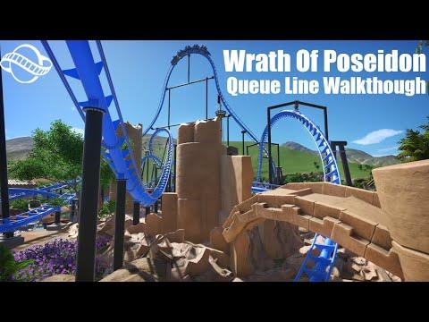 | Wrath Of Poseidon: Queue Line Walkthrough | Vekoma Double Launch | Planet Coaster | |