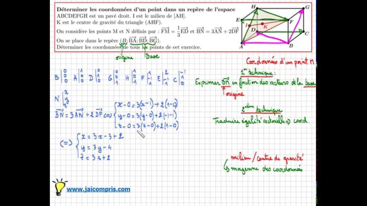 G om trie dans l 39 espace coordonn es d 39 un point dans un rep re non orthonorm niveau - Les sinsin de l espace ...