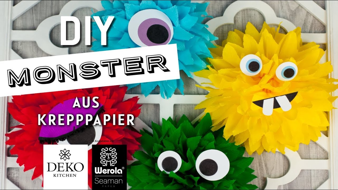 Diy Lustige Monster Aus Krepppapier How To Deko Kitchen In