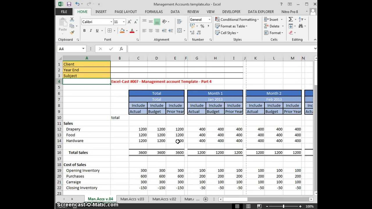excel cast 007 management accounts template part 4 youtube