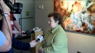 Mikulski Speaks with Reporters at Dedication of Archives at Space Telescope Science Institute