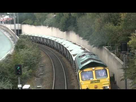 THE PEN STONE - GUIDE BRIDGE TRAIN PASSING THROUGH COLWYN BAY 14-10-2011