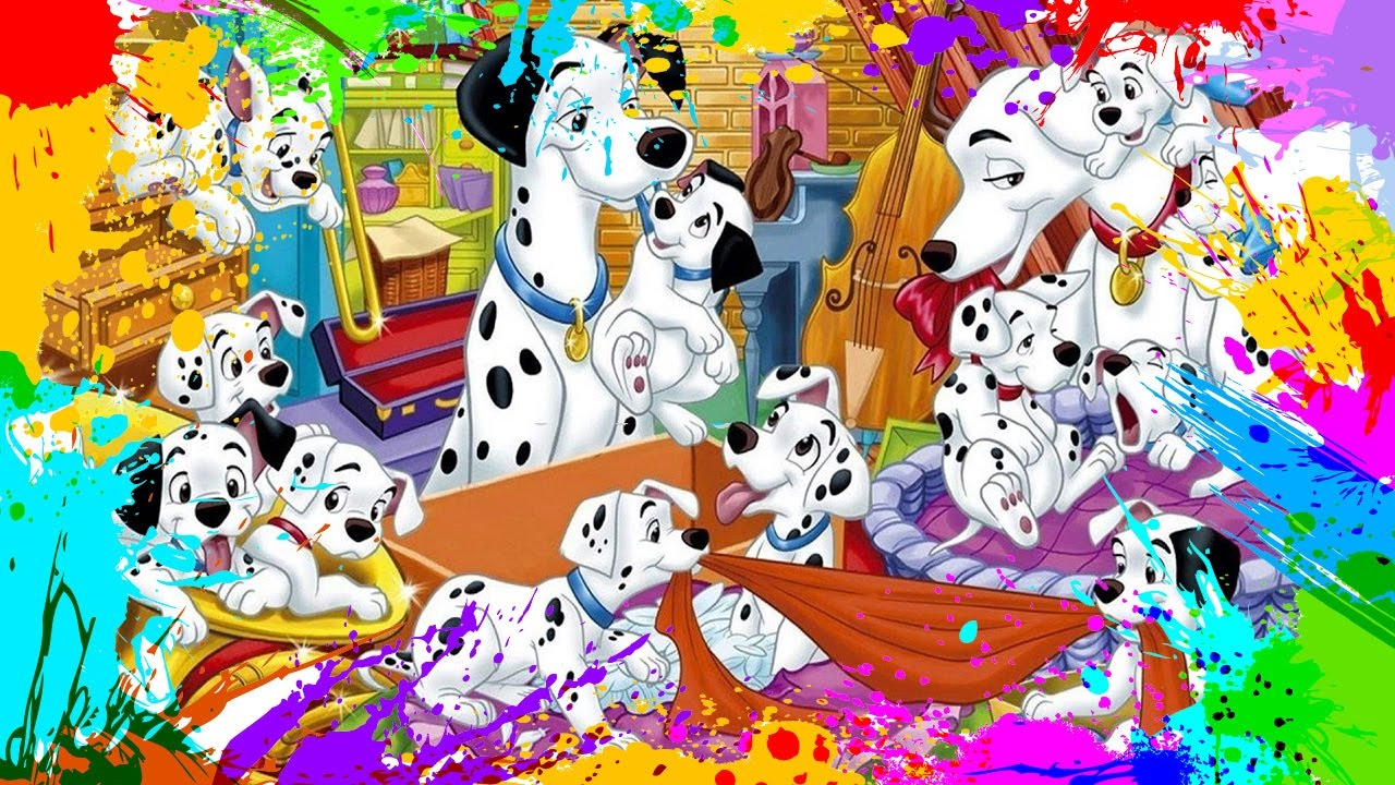 Painting 101 Dalmatians | Coloring Book Pages for Kids | Paint and ...