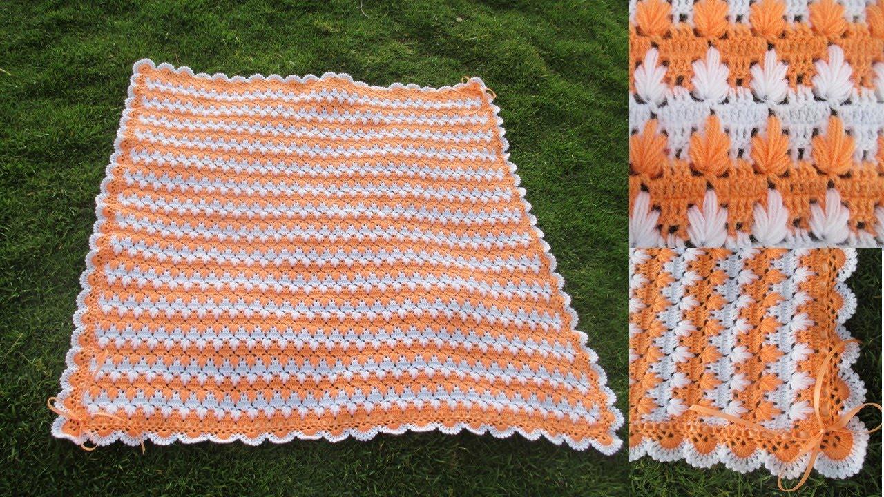 colchita o mantita para bebe tejido a crochet en punto MARAVILLOSO o ...