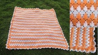 colchita o mantita para bebe tejido a crochet en punto MARAVILLOSO o arbolitos paso a paso video 1