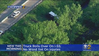 Truck Rolls Over On I-55 In Shorewood