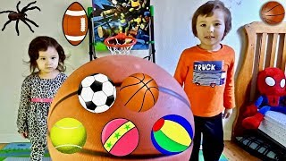 Learn Colors with Sport Ball Toy for Children - Toddlers Learning and Playing Activity Ball-Pit Show