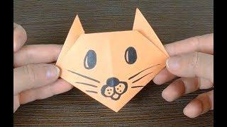 Как сделать оригами кота (кошки) своими руками из бумаги/ Origami Cat for children/ 折り紙ねこ/ 摺紙貓