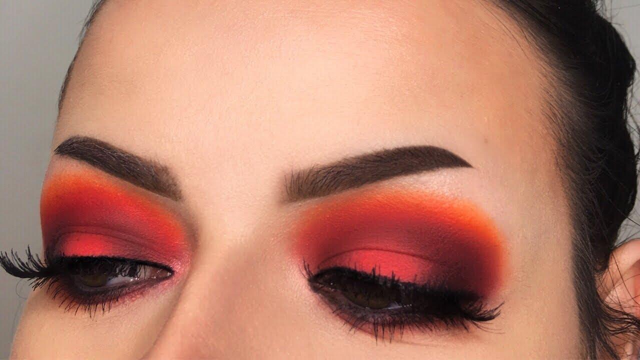 Grungey Red Smokey Eye Makeup Tutorial Karity Matte Palette Youtube