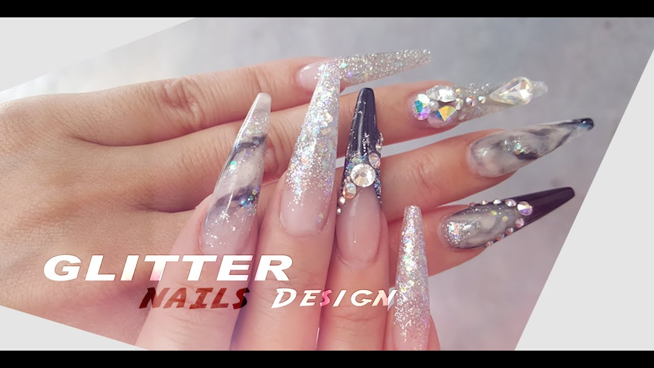 Acrylic Glitter Nails Designs - YouTube