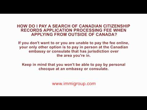 How do I pay a Search of Canadian Citizenship Records application processing fee