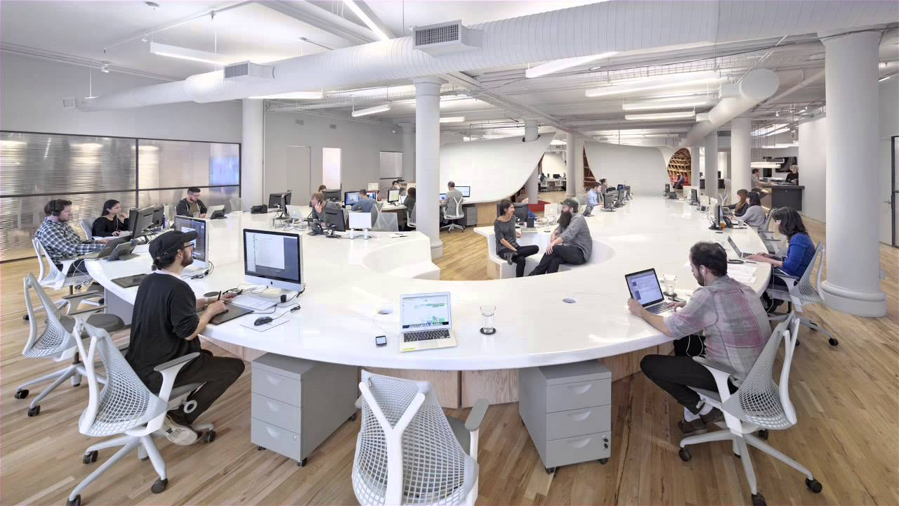 Clive wilkinson 39 s office for the barbarian group is one huge table youtube - Office photo ...