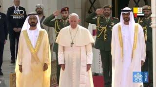 Cérémonie de bienvenue du pape François aux Emirats Arabes …