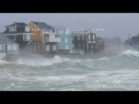 Scituate, MA - Waves Crashing and High Winds, Evacuation Through Flooded Road - March 2nd, 2018