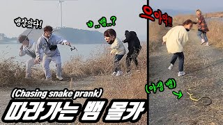 Prank) A snake that keeps chasing you!? Watch how people react when they encounter a wild snake!