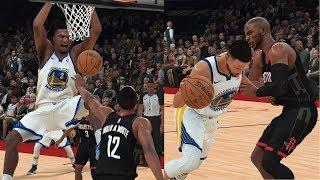 NBA 2K18 Stephen Curry,Klay Thompson SPLASH BROS! & Jordan Bell Highlights vs Rockets 2018.01.04
