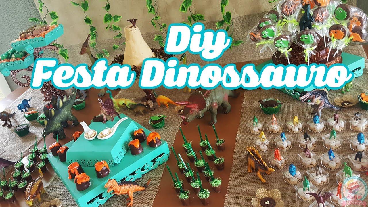 DIY FESTA DE ANIVERSÁRIO DINOSSAURO Gi Buba DIY YouTube -> Decoração De Mesa Festa Dinossauro