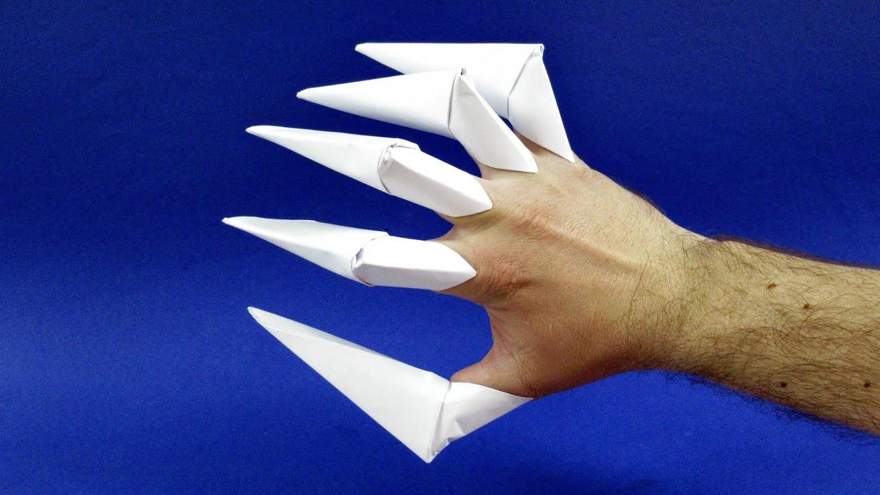 Как сделать когти из бумаги на пальцы  Оригами когти из бумаги