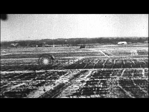 Gun camera footage from USAAF fighter planes over Germany in World War II HD Stock Footage