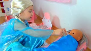Dominika play with dolls as little mom princess dresses