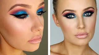 FULL GLAM: Sparkly Blue/Pink Eyes + Flawless Skin | Lauren Curtis