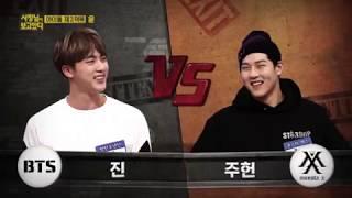BTS Jin Vs MONSTA X Jooheon Wrestling On Idol Survival Show Read Description