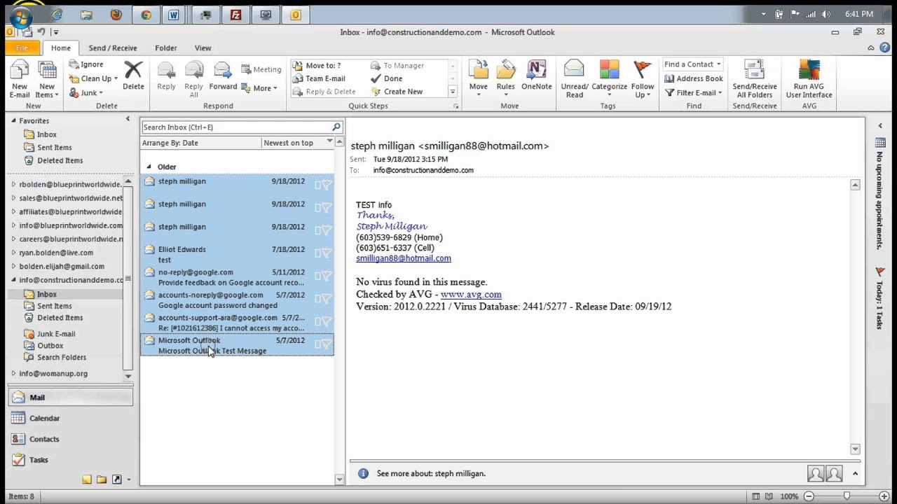 how to add email to outlook 2010