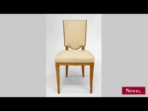 Antique Set of 8 French 1940s sycamore side chairs with