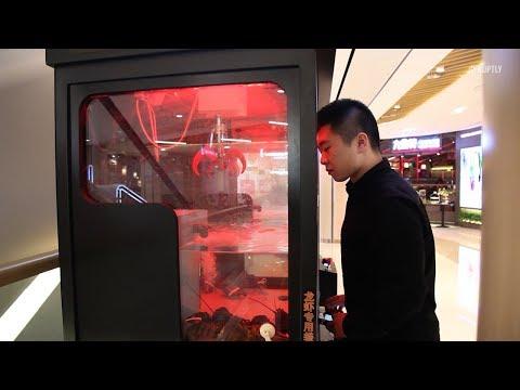 Игровой автомат с омарами в Китае