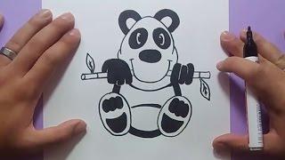 Como dibujar un oso panda paso a paso   How to draw a panda