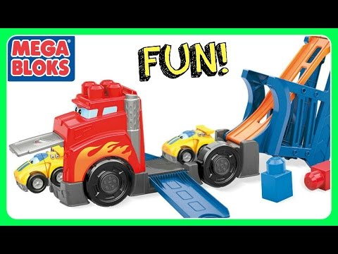 MEGA BLOKS First Builders Fast Tracks Truck Racing Rig!  Video For Kids, Kindergarten, Toddlers, Bab