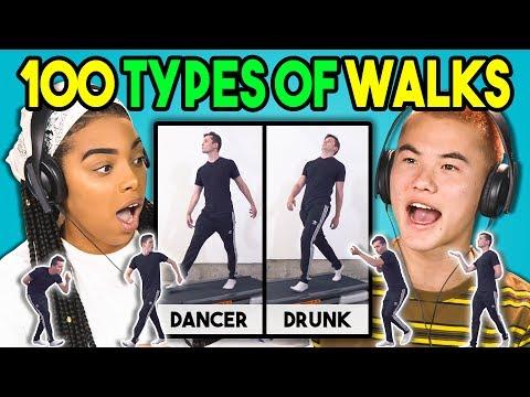 TEENS REACT TO 100 TYPES OF WALKS
