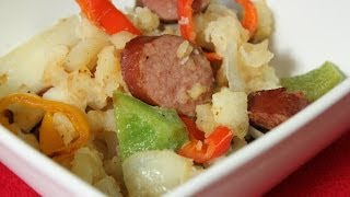 Sausage Pepper Onion Potato Skillet Dinner Bake