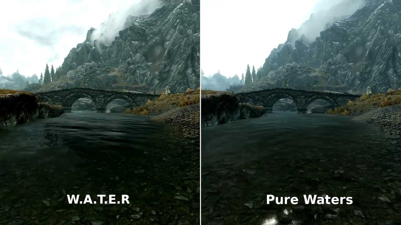 W.A.T.E.R and Pure waters : Skyrim mod comparison - YouTube