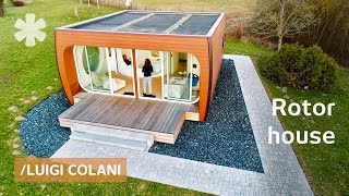 Small prefab tests space-era rotating rooms: sleep-cook-bath