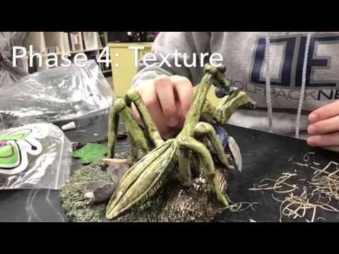Praying mantis clay sculpture