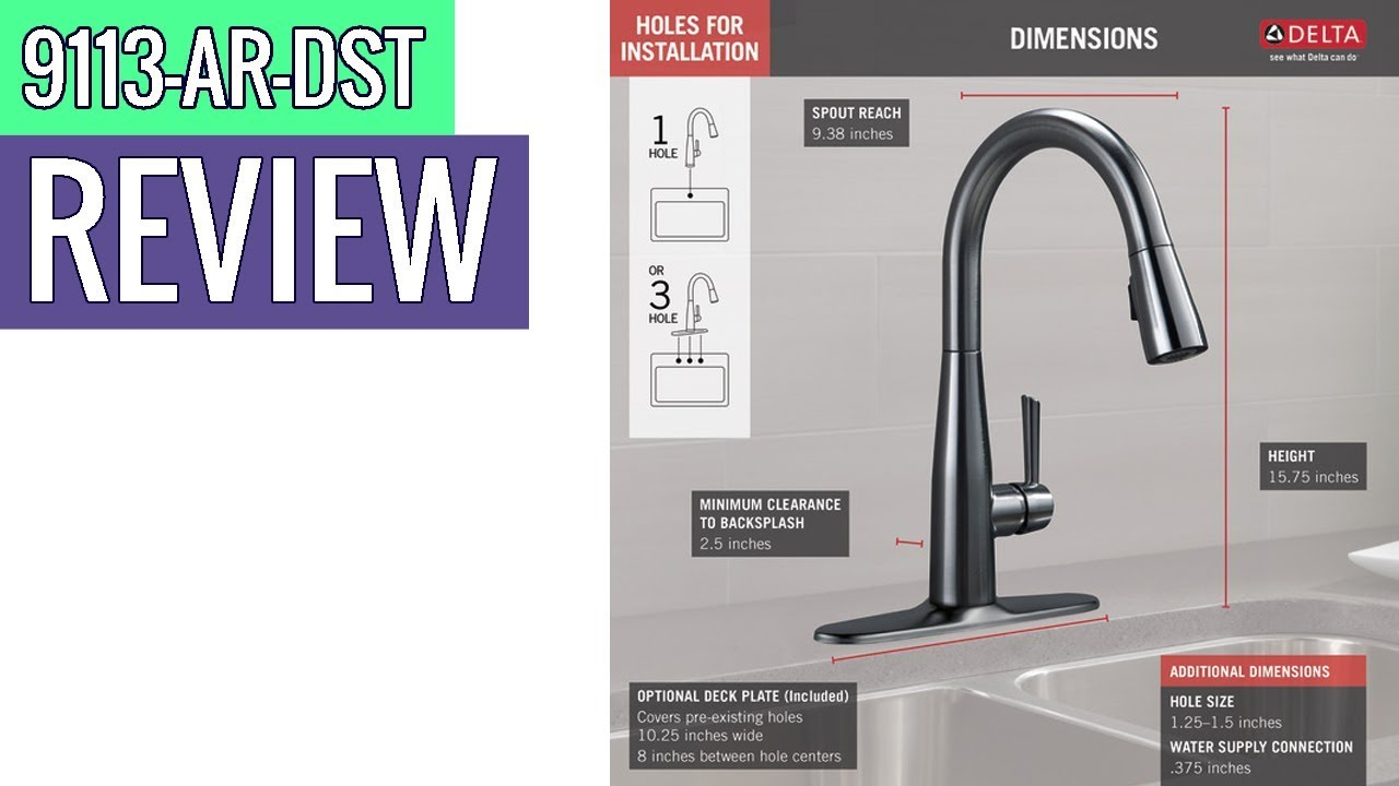 Delta Faucet Essa Single Handle Kitchen Sink Faucet 9113 Ar Dst Review Youtube