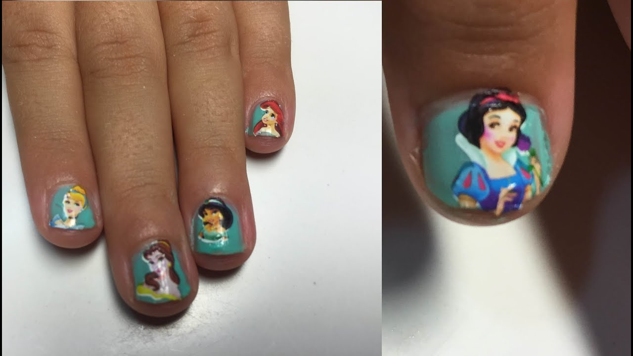 Diseño de Uñas Princesas Disney Tattoo Nail Water Decal - YouTube