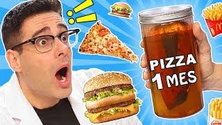 Dejando COMIDA 1 MES EN COCA COLA: PIZZA Y HAMBURGUESAS   Experimentos con Mike