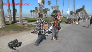 PLAYING CELLO WHILE PEOPLE DANCE VENICE BEACH CALIFORNIA MARCH 21, 2012