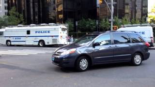NYPD AND UNITED STATES SECRET SERVICE ESCORTING DIPLOMAT ON BROADWAY ON THE WEST SIDE OF MANHATTAN.