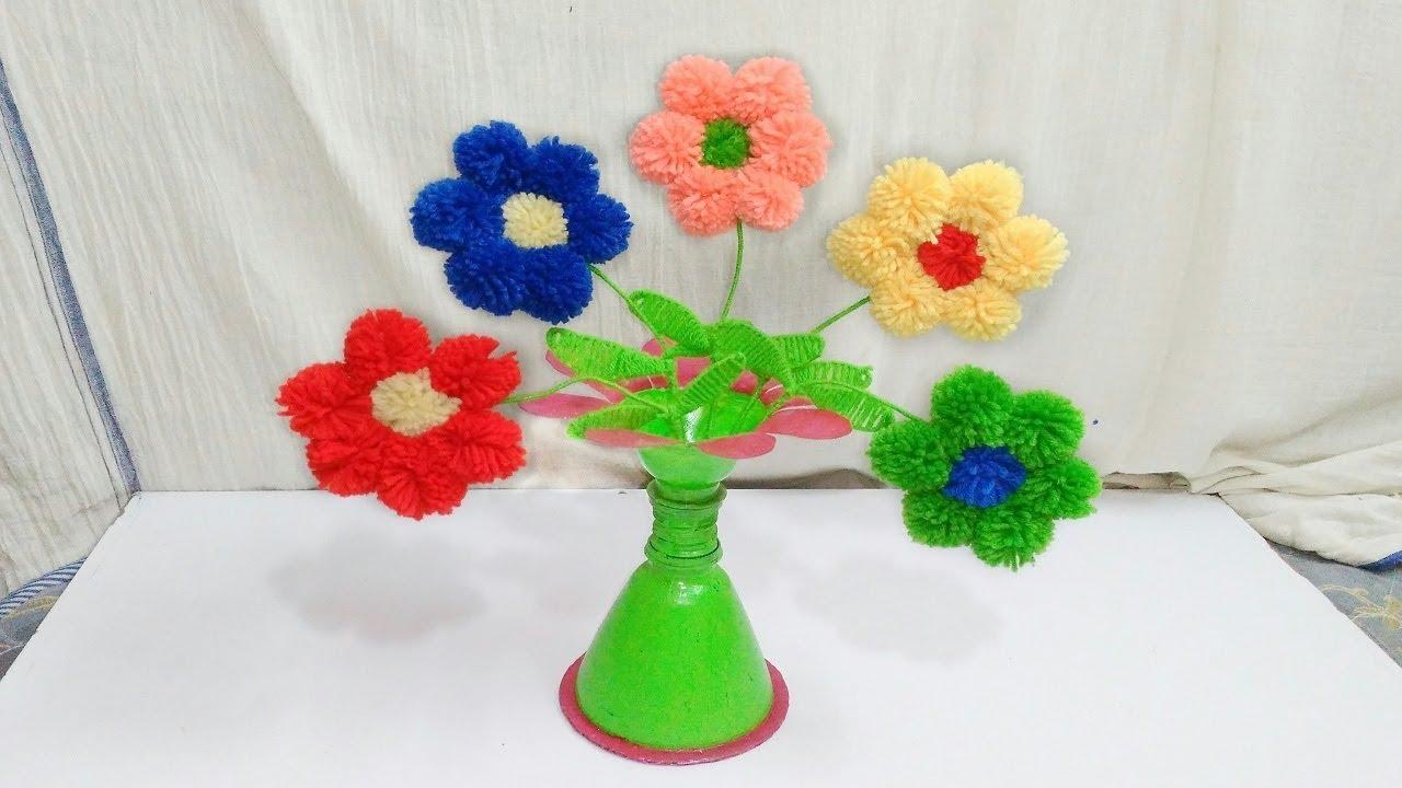 Diy easy woolen sun flowers making design for room decoration diy easy woolen sun flowers making design for room decoration idea reviewsmspy